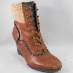 Franco Sarto Waverly Brown Leather Wedge Booties